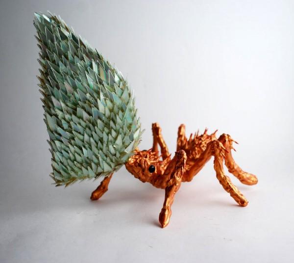 Esculturas de animales de figuras de CDs mezclados Shattered los medios de comunicación CDs de arte