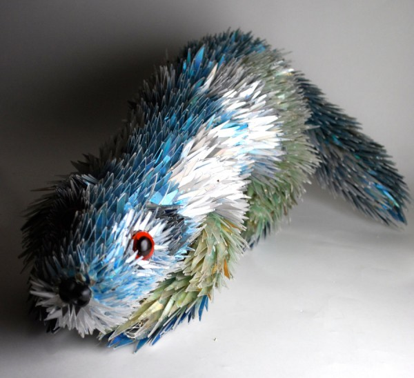 Animal Sculptures Made from Shattered CDs sculpture mixed media CDs animals