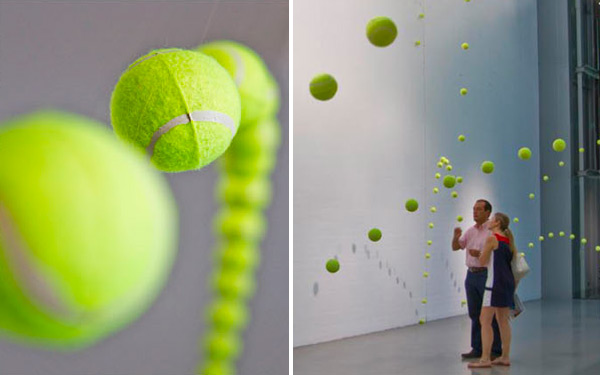 2 000 Suspended Tennis Balls Appear To Bounce Through Mustang Art