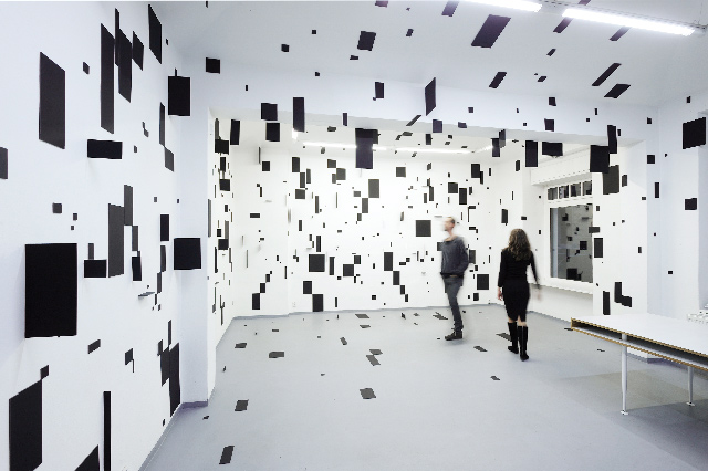 Geometric Rooms by Esther Stocker installation geometric