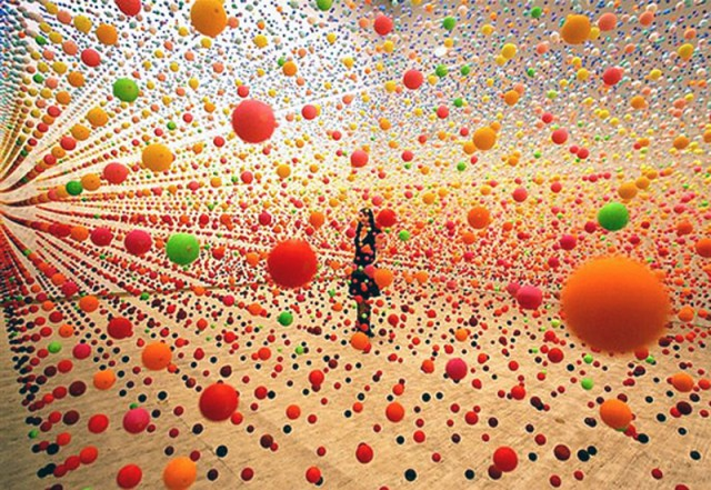 Suspended Bouncy Ball Installation by Nike Savvas installation art