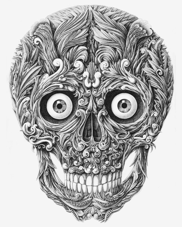 Amazing Skull Drawn with a Dip Pen by Alex Konahin illustration anatomy
