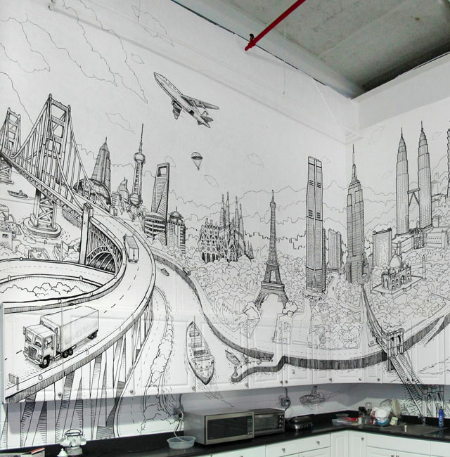Global City: A Sprawling Mural Drawn on the Walls and Cabinets of a Kitchen by Deck Two interior design graffiti drawing architecture