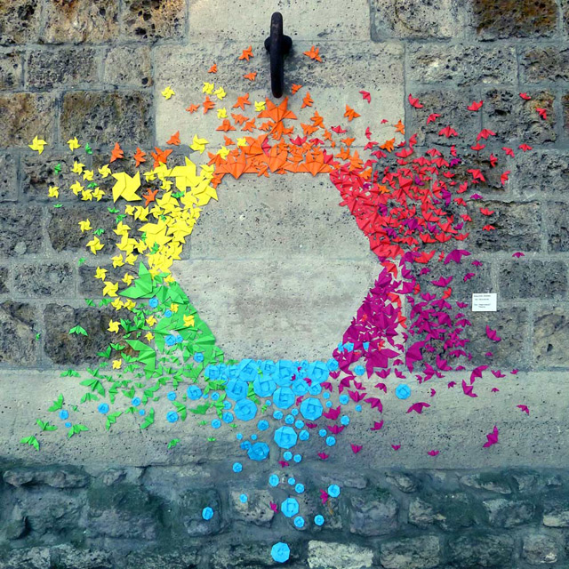 Urban Origami Installations on the Streets of Hong Kong and Vietnam by Mademoiselle Maurice Vietnam street art paper origami Hong Kong