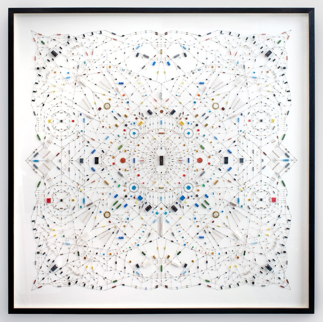 technological mandalas made from soldered computer and