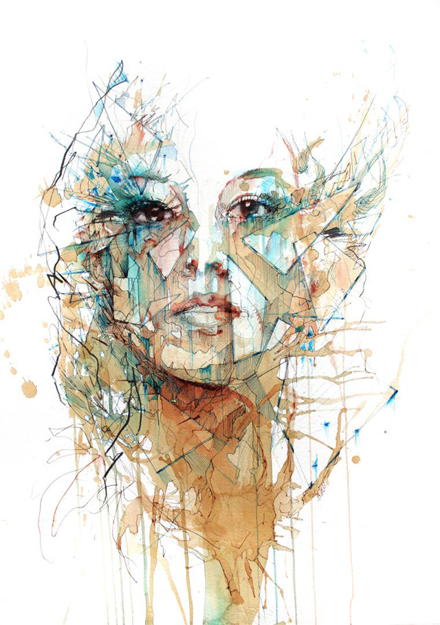 Portraits Drawn with Tea, Vodka, Whiskey and Ink by Carne Griffiths portraits illustration drawing