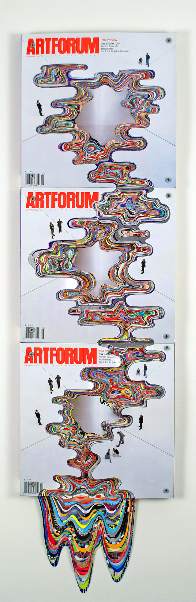 Artforum Magazines Carved into Dripping Waves of Color by Francesca Pastine sculpture paper