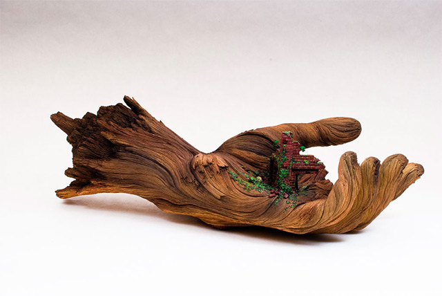 Cycle of Decay: A Sculpted Ceramic Hand that Looks Like a Carved Tree Branch wood sculpture ceramics anatomy
