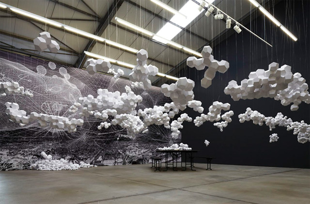 Cloudy House: A Geodesic Paper Cloud Installation by Tomás Saraceno paper clouds