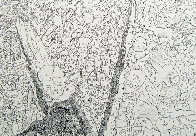 New Maddeningly Complex Doodle Drawings from Sagaki Keita mosaics illustration drawing