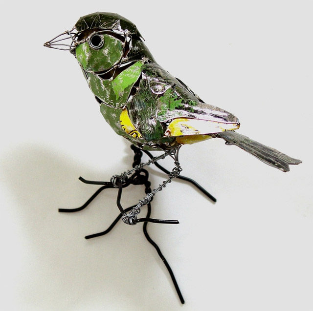 Birds Made from Recycled Metal Scraps by Barbara Franc sculpture recycling birds