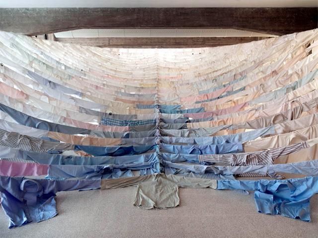 Suspended Shirt Installations by Kaarina Kaiakkonen textiles multiples installation clothing