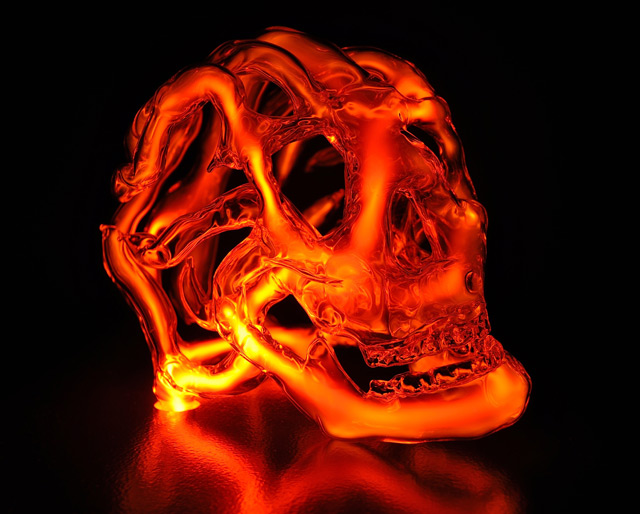 New Neon Skull Sculptures by Eric Franklin sculpture neon light glass anatomy