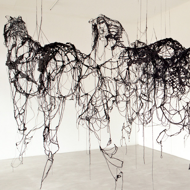 Suspended Horses Made of Wool Thread Dipped in Tar and Latex by Sandrine Pelletier | Colossal