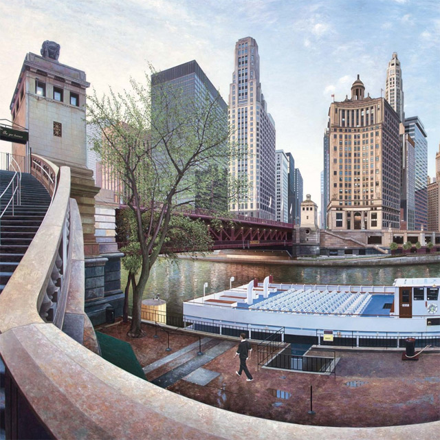 Realistic Urban Landscape Paintings of Chicago and New York by Nathan Walsh photorealism painting New York landscapes Chicago architecture