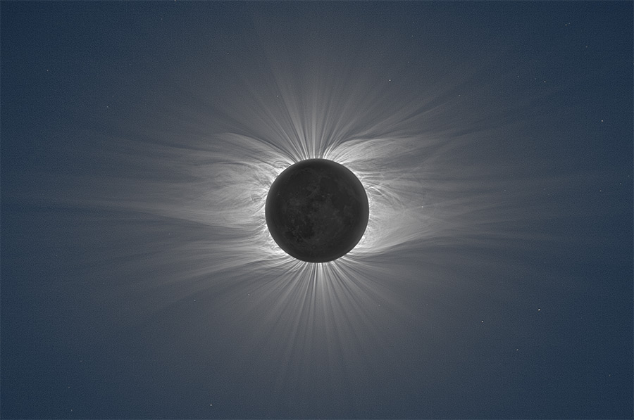 Composite Image of the Moon Taken from 47 Photos Reveals Solar Corona During a Total Solar Eclipse moon astronomy