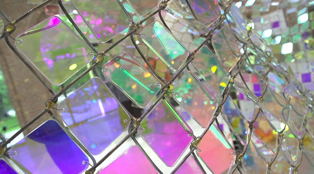 Shimmering Chain link Fence Installation by Soo Sunny Park reflection multiples light installation