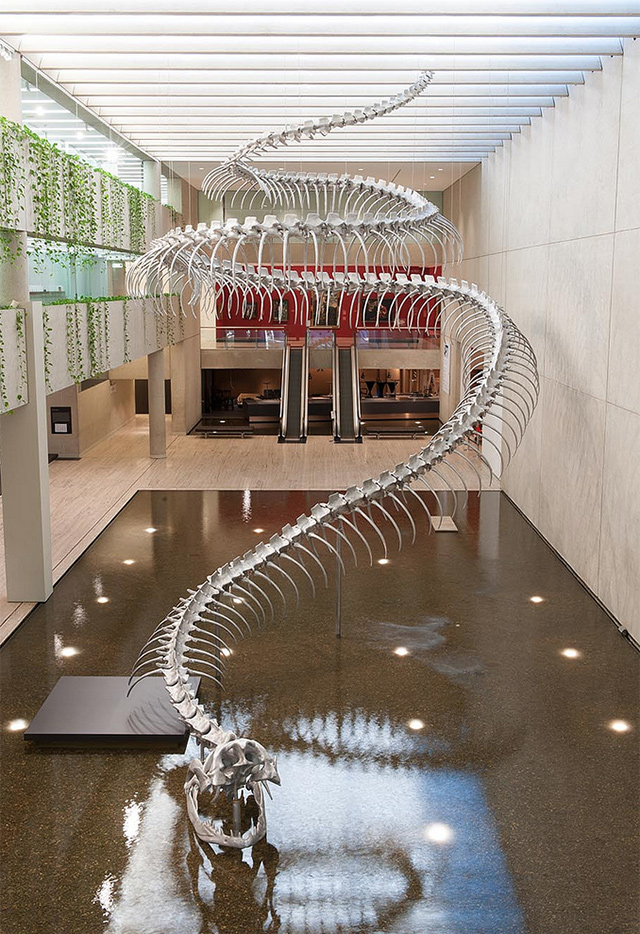 A Giant Aluminum Snake Skeleton Rises from a Pool of Water at the Queensland Art Gallery | Colossal