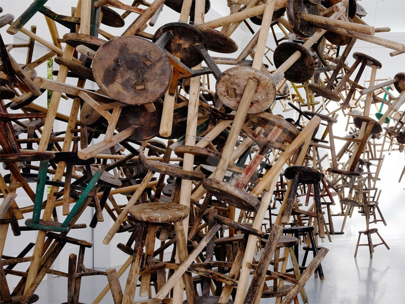 Bang: Ai Weiweis Latest Installation Made from 886 Antique Stools multiples installation furniture