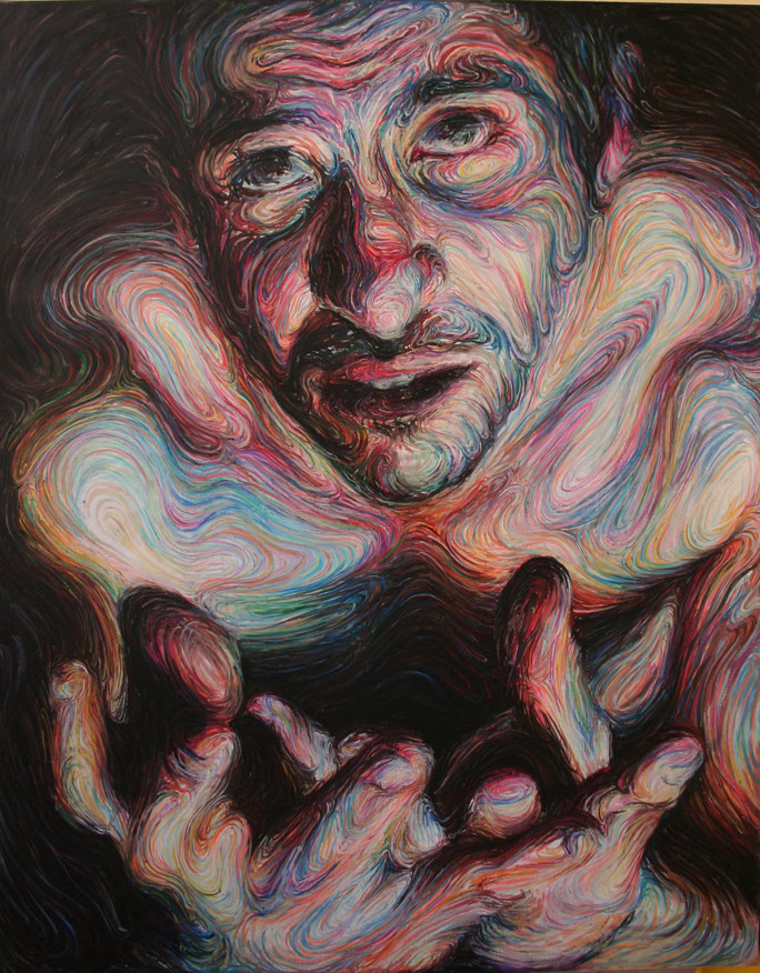 Swirling, Psychedelic Self Portraits by Nikos Gyftakis portraits pastel painting