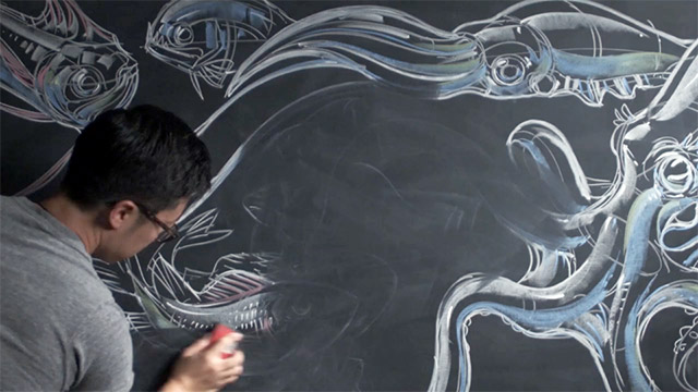 Pardon My Dust: The Chalk Art of Peter Han illustration drawing documentary chalk