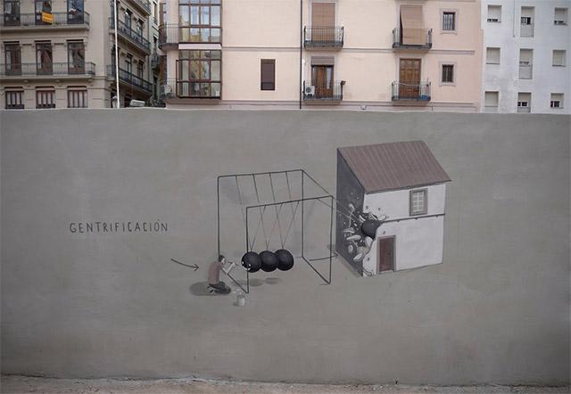 Humorous and Political Street Art by Escif street art Spain politics murals