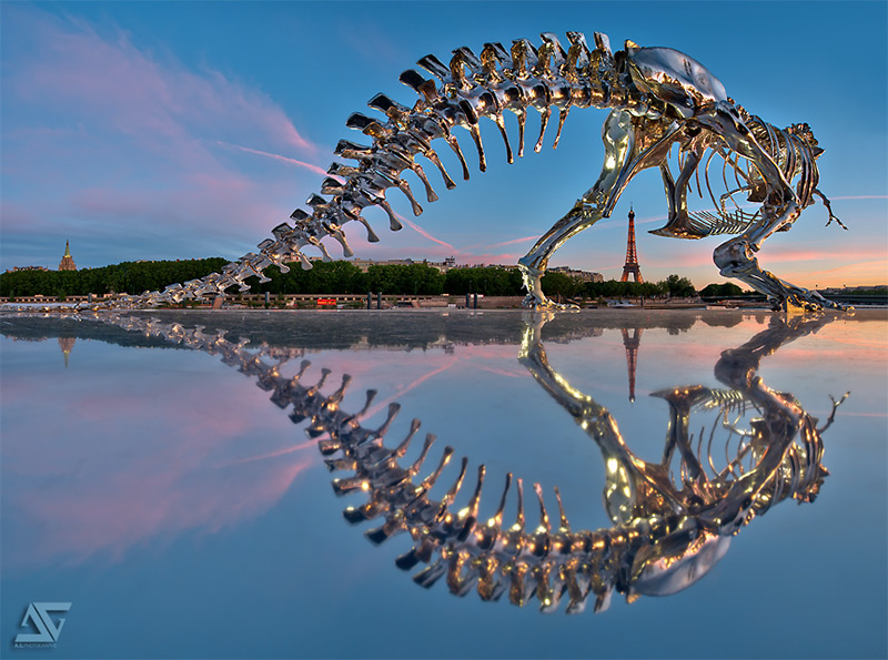 Giant Chrome T-Rex Installed on the Seine River in Paris by Philippe Pasqua | Colossal