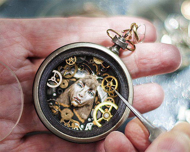 Steampunk Watch Part Sculptures<br /> by Sue Beatrice watches steampunk sculpture recyling assemblage