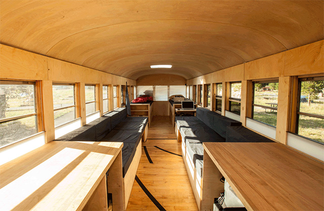 Architecture Student Converts Old Bus into Comfy Mobile Home ... on old mobile home appliances, old mobile home toilet, old mobile home wiring, old mobile home construction, old mobile home carpet, old mobile home exterior, old mobile home curtains,