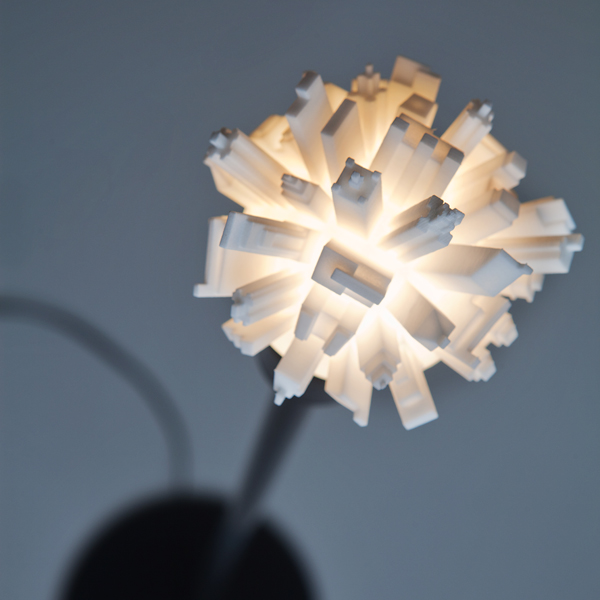Lightbulbs Adorned with Sprouting Cityscapes by David Graas lighting design 3d printing