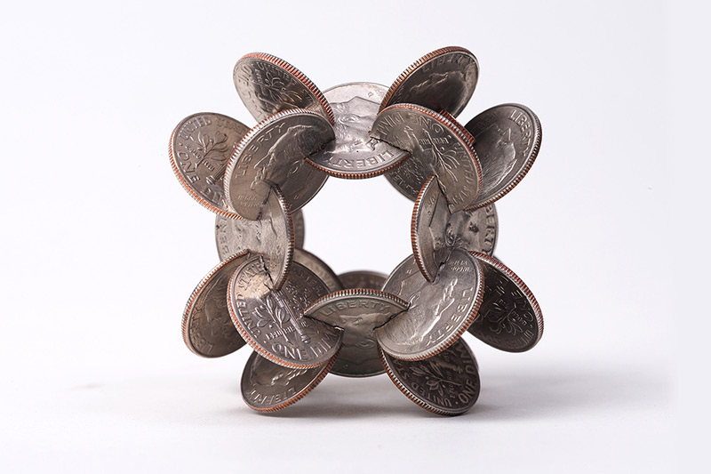 Geometric Coin Sculptures by Robert Wechsler sculpture multiples geometric currency