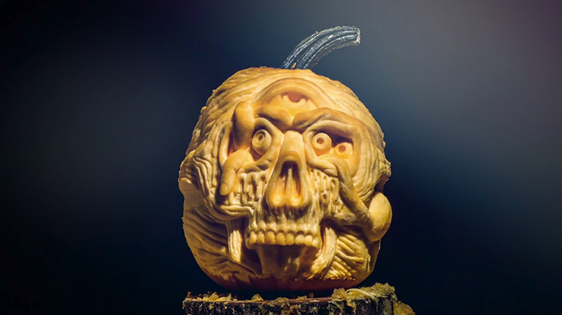 Creepy Pumpkin Carving Timelapse timelapse stop motion pumpkins Halloween