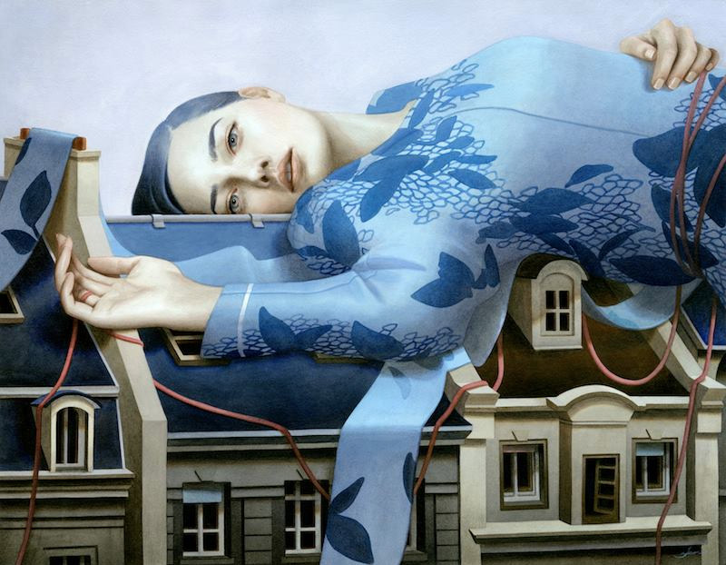 Dreamy Paintings of Women on Buildings by Tran Nguyen painting illustration