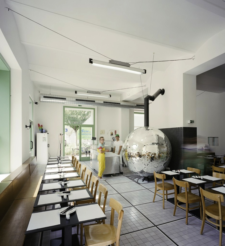 A Rotating Disco Ball Pizza Oven by Lukas Galehr Vienna pizza food cooking architecture