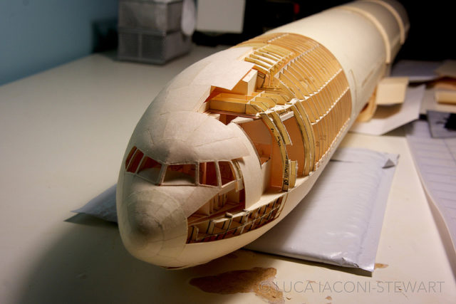 A 1:60-Scale Boeing 777 Built Entirely from Paper Manilla Folders by Luca Iaconi-Stewart