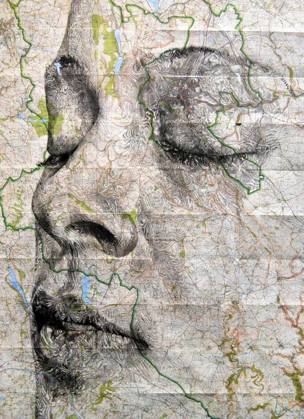 Elaborate New Portraits Drawn on Vintage Maps by Ed Fairburn | Colossal