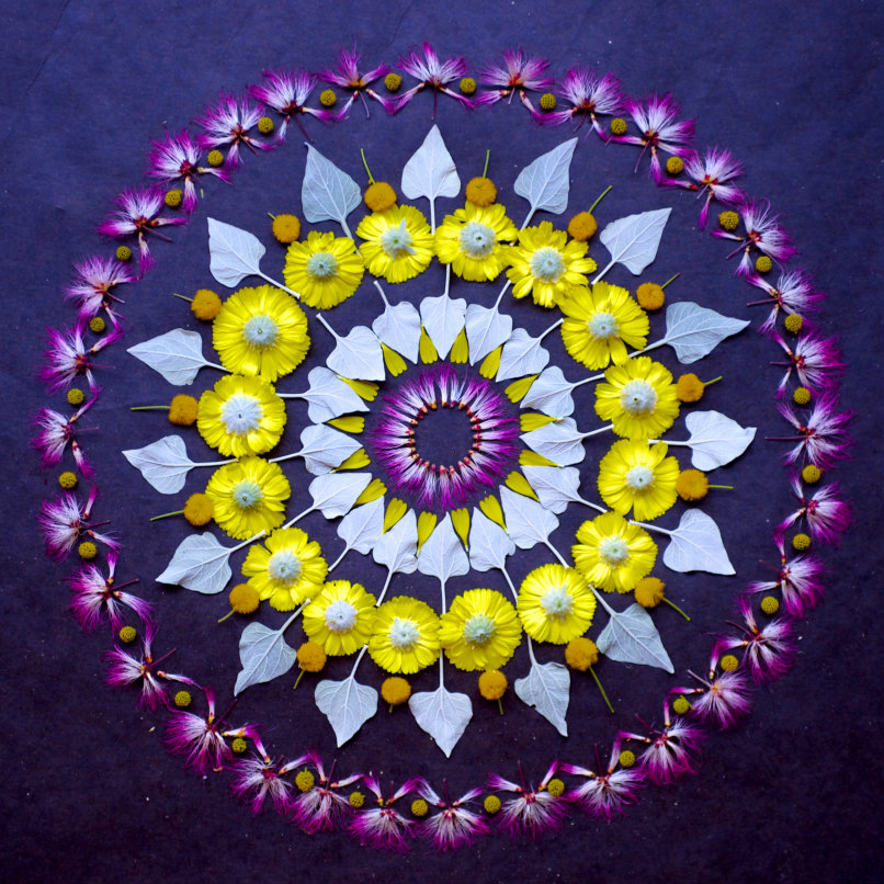 New Flower Mandalas by Kathy Klein mandala land art is it spring yet flowers