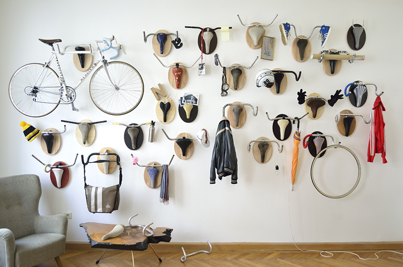 Hunting Trophies: Repurposed Vintage Bike Parts Converted into Functional Taxidermy Racks upcycling taxidermy sculpture humor bicycles antlers