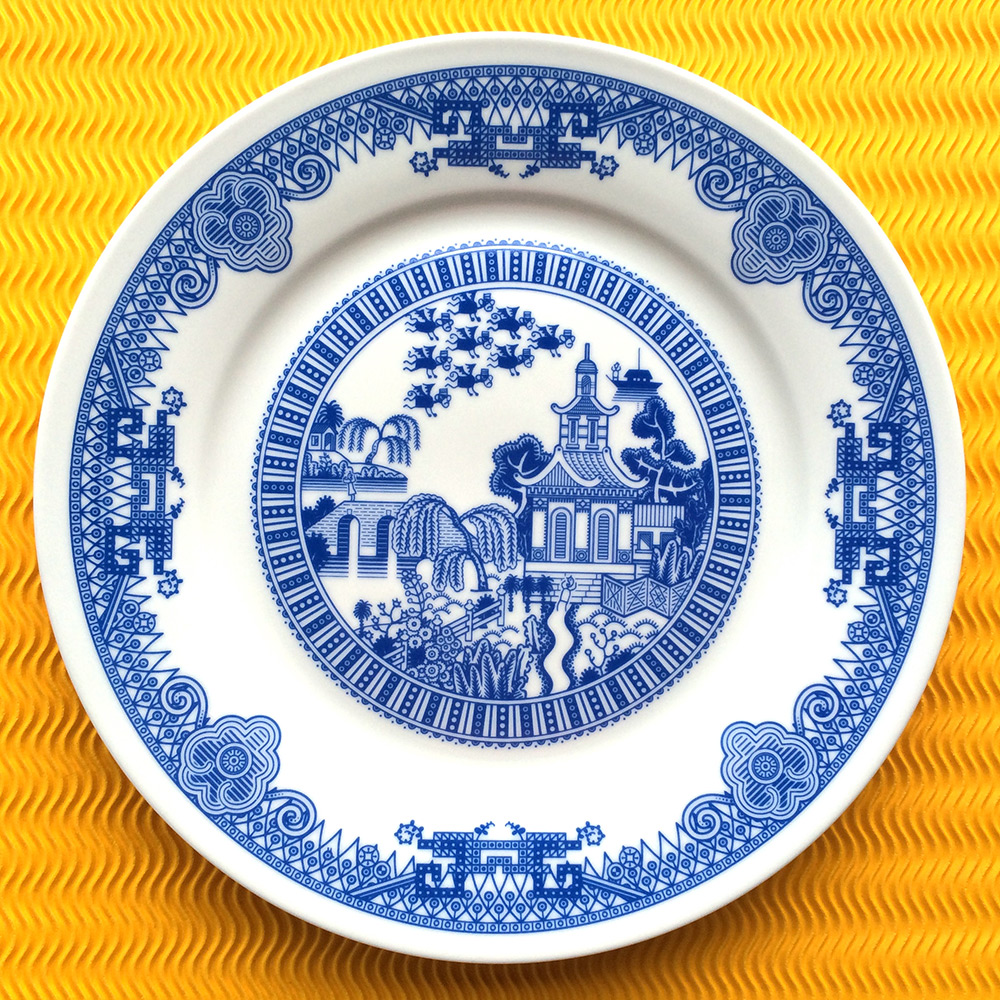 Calamityware: Disastrous Scenarios on Traditional Blue Porcelain Dinner Plates humor food dining ceramics