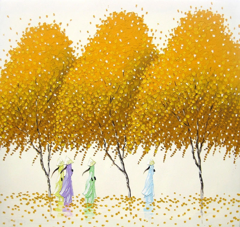 Vietnamese Landscapes Painted by Phan Thu Trang Vietnam trees pointillism painting landscapes