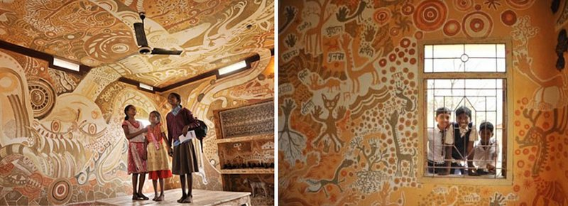 A Sprawling Mud Mural by Yusuke Asai Brings Art Into Classrooms in India school murals India education