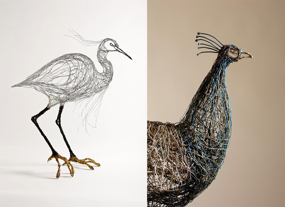 bird sculptures constructed from wirecelia smith look like