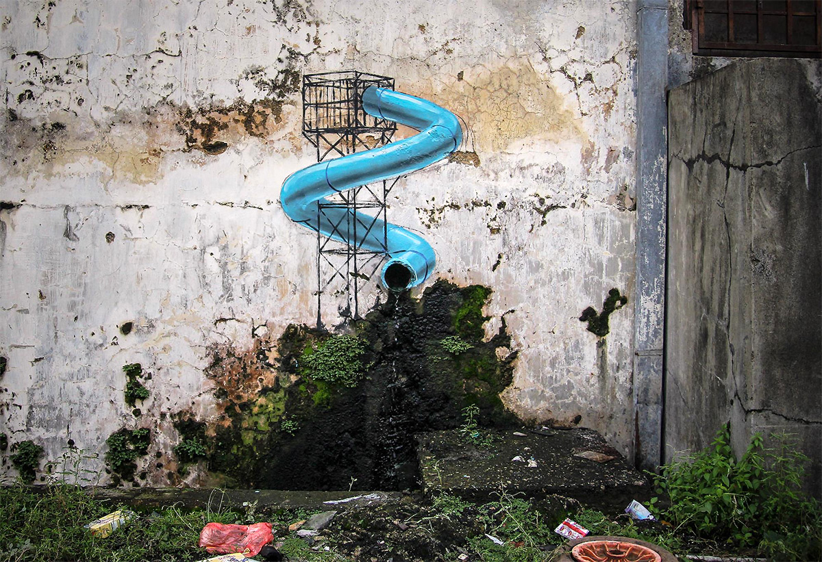 Whimsical New Murals by Ernest Zacharevic Play with Their Surroundings on the Streets of Malaysia | Colossal