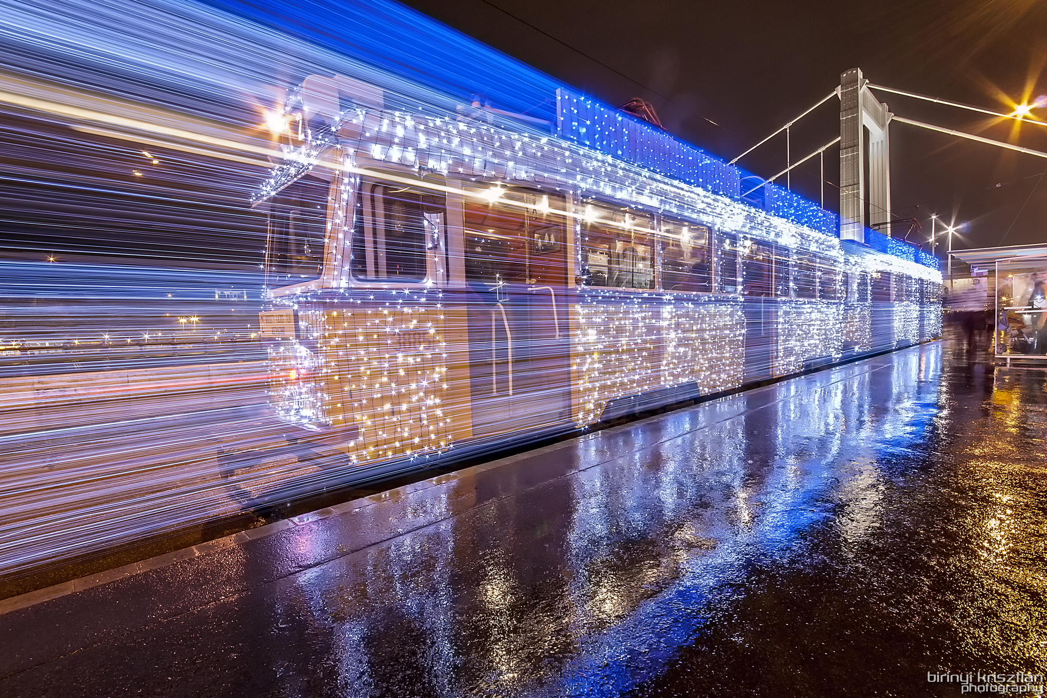 Long Exposure Photos of Budapest Trams Lit Up with 30,000 LED Lights | Colossal