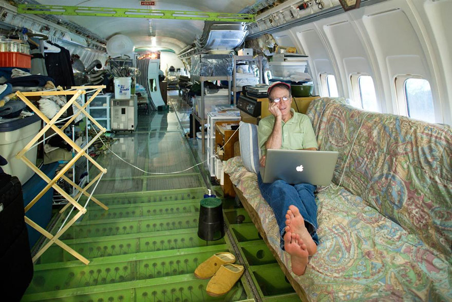 A Retired Boeing 727 Converted Into a Home in the Woods home forests airplanes