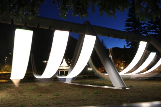 An Illuminated Musical Swing Set Installed at Green Mountain Falls in Colorado