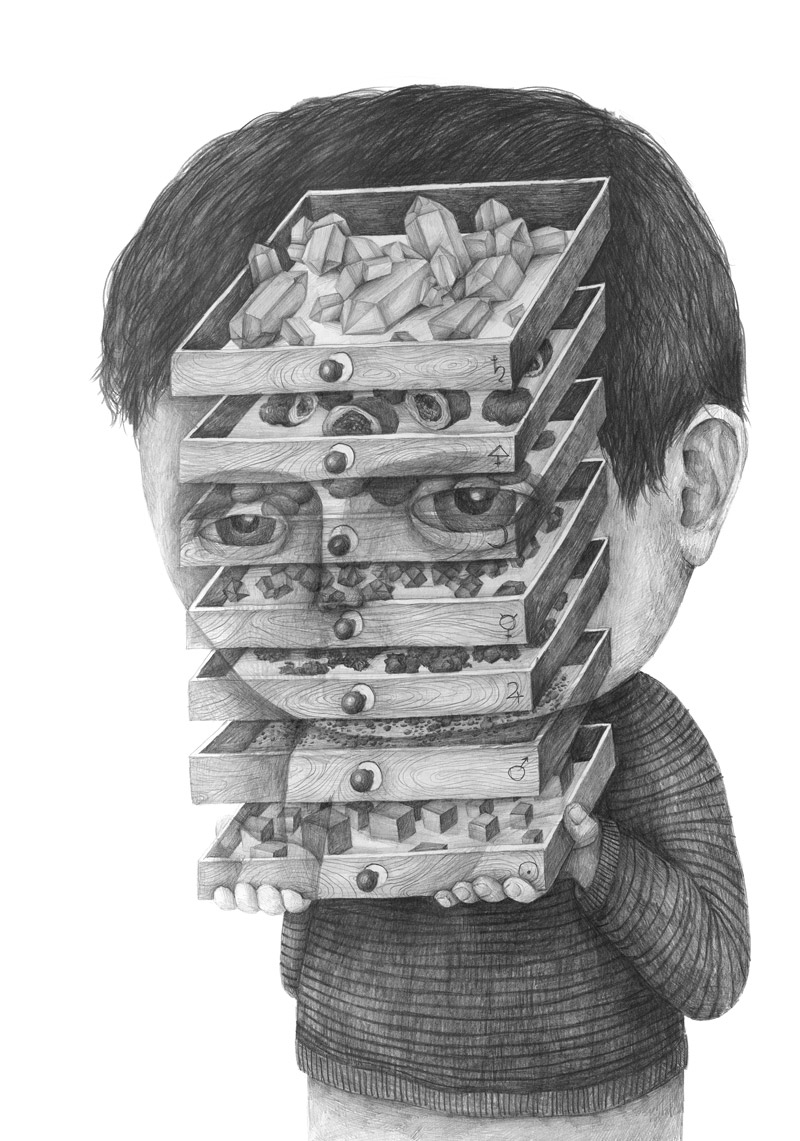 Graphite Portraits of People Inconvenienced by Objects and Thoughts by Stefan Zsaitsits portraits illustration drawing