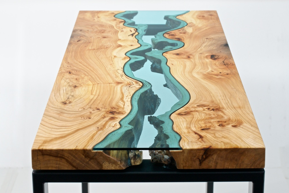 Table Topography: Wood Furniture Embedded with Glass Rivers and Lakes by Greg Klassen wood table rivers lakes furniture