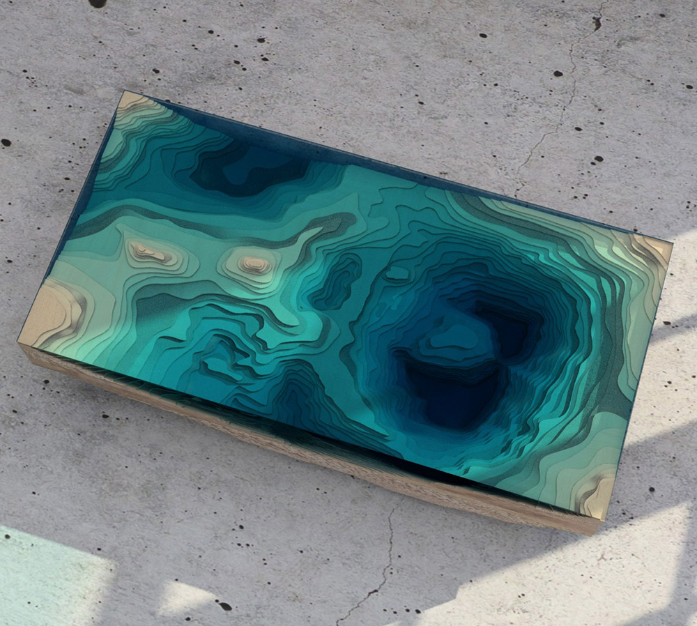 Layered Glass Table Concept Creates a Cross-Section of the Ocean | Colossal