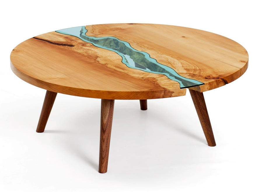 Table Topography Wood Furniture Embedded With Glass